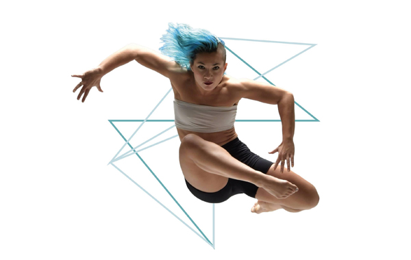 Dance:Connects image of leaping dancer with blue hair