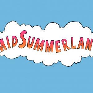 MidSummerland logo with sky blue background